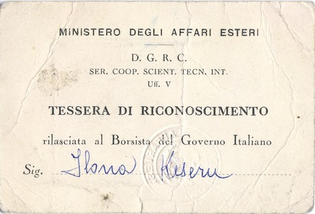 certificate of an Italian State Scholarship