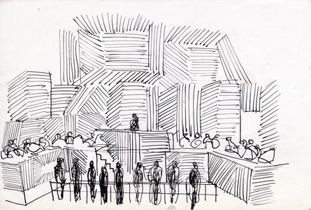 set design sketch for the National Theatre's production of The Investigation