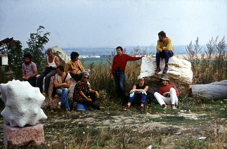 With sculptor collegues at the time Pasted Forms were made (Ilona Keserü 2nd sitting on the ground)